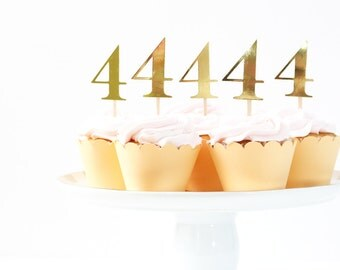 Gold Number Cupcake Toppers Girls Birthday Party Age Cupcake Topper Gold Foil Party Supplies Gold Metallic Cake Topper Peach and Gold Party
