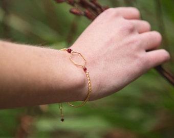 hexagon bracelet, minimalist bracelet with hexagon shape, geometric bracelet, burgundy bracelet, graphic jewelry