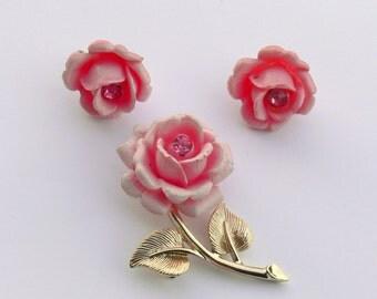 sac cov pink rose brooch and clip earrings