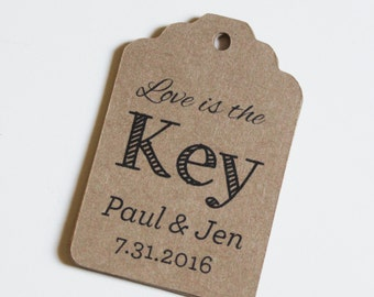 Key Favor Tags for Weddings Showers Gifts Rustic - Love is the Key -  50 Kraft Paper Thank you labels - Perfect with Greenery