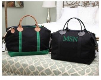 Monogram Canvas Weekender Bag Solid Black - Monogrammed Canvas Large Weekender Duffle - Black Personalized Weekender Bag -Wedding Party Gift
