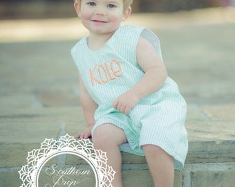 Boy's Custom Monogram Jon Jon - Green & White - Summer outfit - Monogrammed Romper / Jon Jon- Shower gift - Summer Bubble