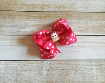 Hot Pink Polka Dot Halloween Ghost Boutique Style Hair Bow
