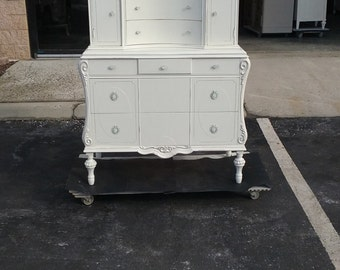 Carved Antique Tall Dresser, chest, bureau, bedroom, shabby chic, vintage painted chest of drawers. Pick Up Or Local Delivery