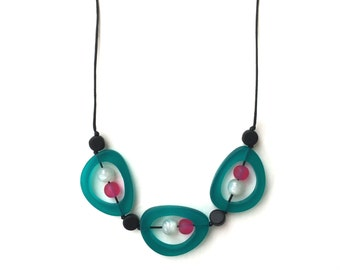 Nursing Beads - Nursing Necklace - Breastfeeding Jewellery - Troika -  Choker/ Mid Length Adjustable Necklace- Teal, Pink, Black and White