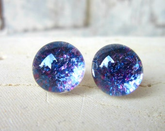 Blue and Purple Glitter Stud Earrings. Purple & Blue Post Earrings. Glitter Button Earrings. Glitter Jewelry. Silver Stud Earrings