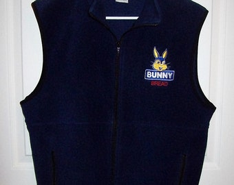 Vintage Navy Blue Bunny Bread Fleece Vest by Port & Company Medium Only 12 USD