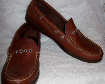 Vintage Men's Brown Leather Slip On Loafers by L L Bean Size 12 Only 12 USD
