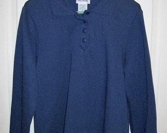 Vintage Ladies Navy Blue Fleece Tunic Top by Blair Small Only 5 USD