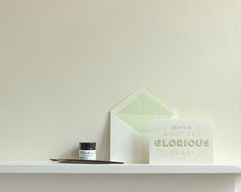 Here's To Another Glorious Year Letterpress Greetings Card