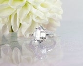 Raw Crystal Ring, Solitaire Crystal Ring,  Unisex Raw Crystal Ring, Sterling Raw Crystal Ring, Unisex Raw Crystal Jewelry, Herkimer Diamond,