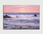 Ocean art beach decor beach photography aqua home decor beach canvas large wall art beach landscape print blue purple pink nautical sunset