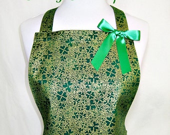 Apron IRISH Shamrocks, EMERALD Green & GOLD Clover, Pretty Party Hostess Kitchen Gift