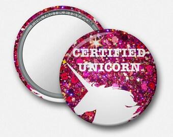 Unicorn Pocket mirror, Certified Unicorn, Unicorn Birthday, Custom Mirrors, Makeup bag, Unicorn theme, pony party, horse theme party