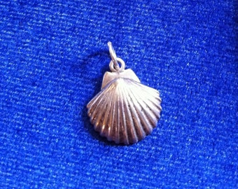 Clam Sterling Silver Shell Charm, Clam Shell Signed .925