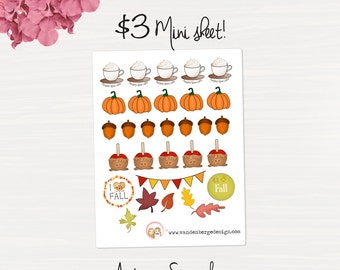Autumn Sampler Planner Sticker Sheet- 30 count -Perfect for all planners!
