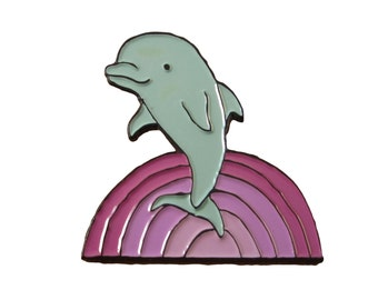 Soft Enamel Dolphin Pin - Colorful Dolphin Pin - Purple Rainbow Waves Pin