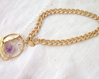 Bracelet Gold tone Link Sarah Coventry  Purple Accent Charm ~ Chunky Round Charm