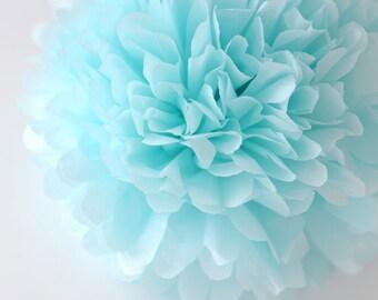 Paper pom pom in Light blue  / pale blue / / custom size / pastel pompom/ nursery decor
