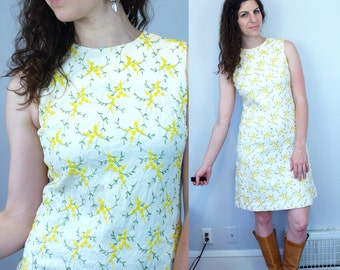1960s 1970s Vintage Yellow & White Floral Flower Embroidered Fit and Flare L'Aiglon Shift Dress / Sleeveless Midi Wedding Dress / Medium M 6