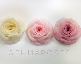 Ivory and Pink Rose Hair Clip or Brooch - set of three - bridesmaid hair - belt rose
