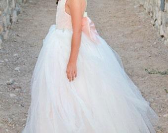 Blush Pink Princess Ballerina Lace Tulle Backless flower girl dress LS009