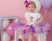 Teddy Bear Birthday Tutu Outfit, First Second Third Teddy Bear Birthday Outfit, Pink and Purple Teddy Bear Tutu Set *Bow NOT Included*