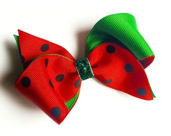 Watermelon hair bow--red white green glitter loopy hair bows--ribbon sculptures