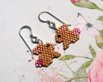 Seed Bead Bunny Earrings, Bunny Earrings, Rabbit Earrings, Easter Earrings, Holiday Earrings, Bunny Jewelry, Easter Jewelry, Dangle Earrings