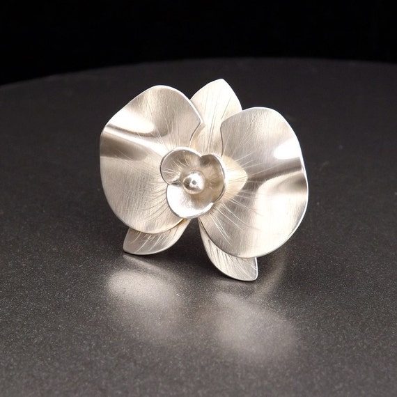 Silver Orchid Ring - Handcrafted Artisan Ring - Unique Statement Ring - Size 6