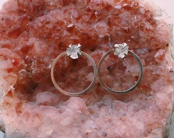 Claw Quartz Hoop Earrings - Sterling Silver