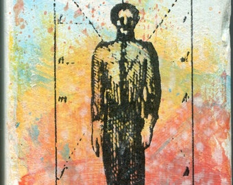 Figure 13, UFO Art original artwork by Michael Quirk, mixed media, Aliens, X-Files