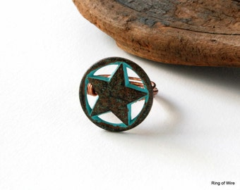 Star Button Ring, Blue Star Ring, Metal Button Ring, Button Jewelry, Statement Ring, Blue Patina Ring, Rustic Style Ring, Wire Wrapped Ring