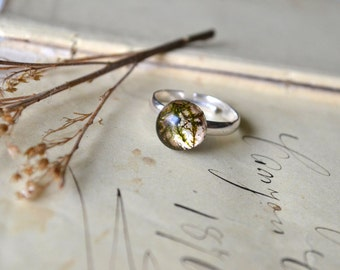 Real Moss Resin Ring Adjustable Ring