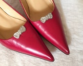 Vintage 1930s Tiny Rhinestone Bows Clips for Dress Shoes
