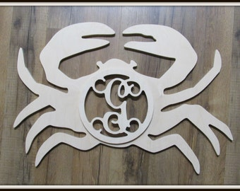 "Crab Door Hanger with Letter - Unpainted Wood - 22"" size - Kitchen or Entryway Decor - Wood Letter - Wall Hanging - Monogram - Beach - River"