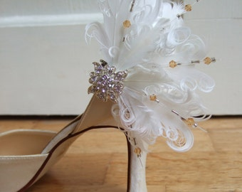 """Pair White Gold Silver Bridal Curled Nagoire Feathers and Crystals """"Faneva"""" Shoe Clips"""