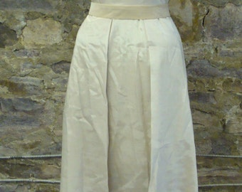 1970's does 1870's SILKY BEIGE DRESS long gown wedding simple xs S