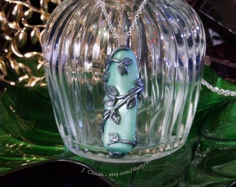Polymer Clay Light Teal and Silver Vine Wrapped Glow in the Dark Pendant Glowing Jewellery