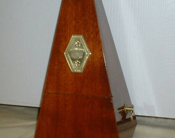 Beautiful Antique Mahogany Maelzel Metronome by Seth Thomas Clocks. Restored, Fully Serviced, Calibrated, Runs Great. Has Solid Brass Trim