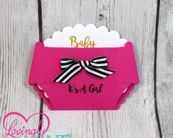 Hot Pink, Black & White Stripes and Gold Baby Shower Diaper Shaped Invitations - Set of 10 - Modern Girly - Fashionista, Designer Inspired