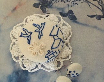 blue swallow embroidery bird brooch and earring set