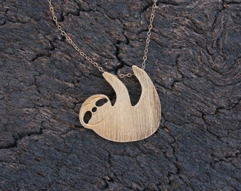 Gold Sloth Necklace , Hanging Sloth Pendant on Goldfilled Chain , Sloth Pendant , Sloth Jewelry , Sloth Gift , Gold Sloth , Three Toed Sloth