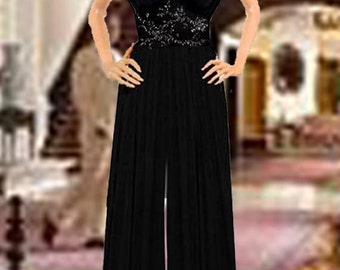 Palazzo Black Jumpsuit  Jeweled Center  Made To Measurement