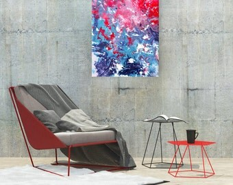 Red & Blue Abstract Painting by Louise Mead - 'Get Fresh' - Abstract Marbled Fluid Painting in Red, White, and Blue