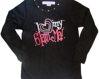 Black Tee with Burnout Long SLeeves I Love GlamMa girls clothing, baby clothes, toddlere clothes, childrens clothing, FREE SHIPPING