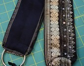 """DIY Belt Base- 32"""" Black and Silver Silk Brocade Sari with Sparkle Tribal Fusion or Tribal Bellydance Lace Costume"""
