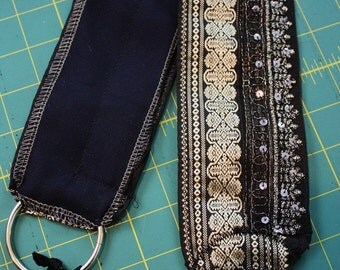 "DIY Belt Base- 32"" Black and Silver Silk Brocade Sari with Sparkle Tribal Fusion or Tribal Bellydance Lace Costume"