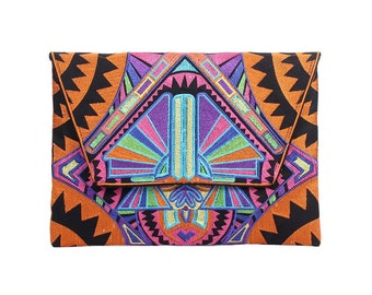 Orange Fold Over Clutch With Embroidered Pattern Fabric (BG306DW-64C7)