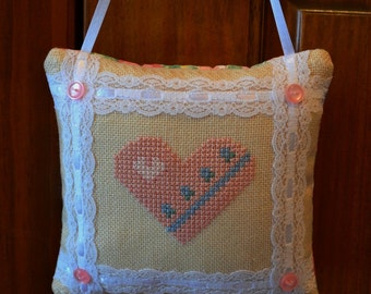 Heart Door Hanger Pillow Pinkeep Cross Stitch
